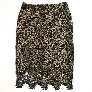 Boston Proper Black & Gold Lace Overlay Skirt